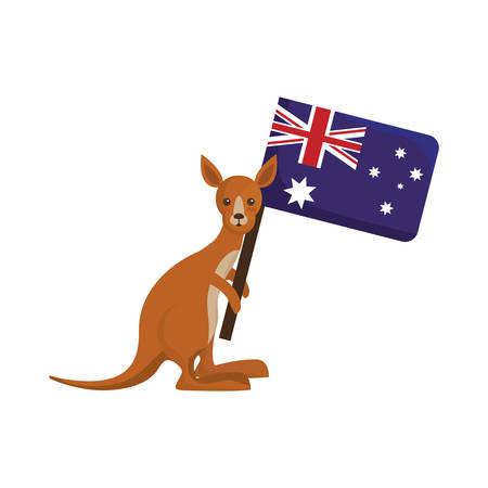 kangaroo holding a australia flag icon over white background vector illustration