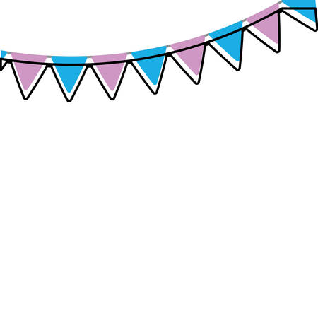 decorative purple and blue pennants icon over white background vector illustration