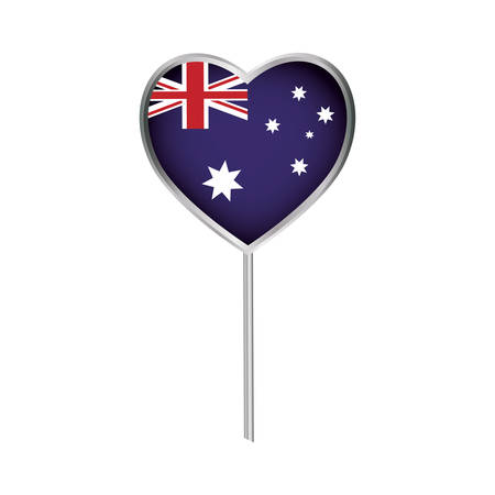 australia flag in heart shape icon over white background colorful design vector illustration