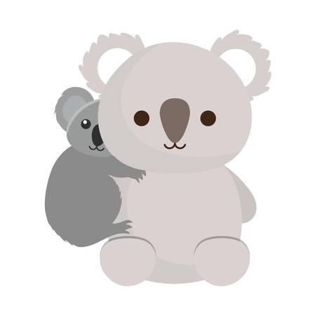 cute koala and baby koala icon over white background colorful design vector illustration Illustration
