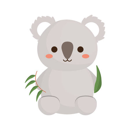 cute koala with bamboo leaves icon over white background colorful design  vector illustration