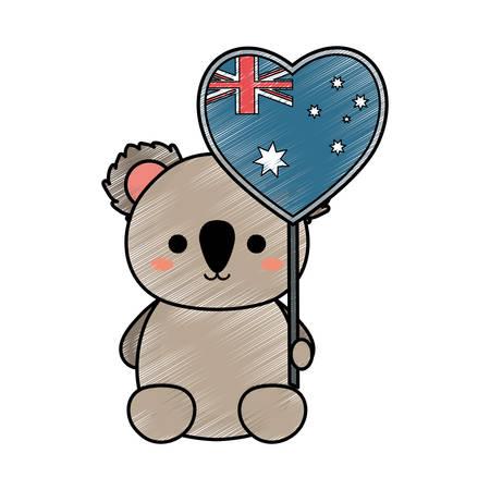 Cute koala with Australia flag in heart shape over white background colorful design vector illustration.