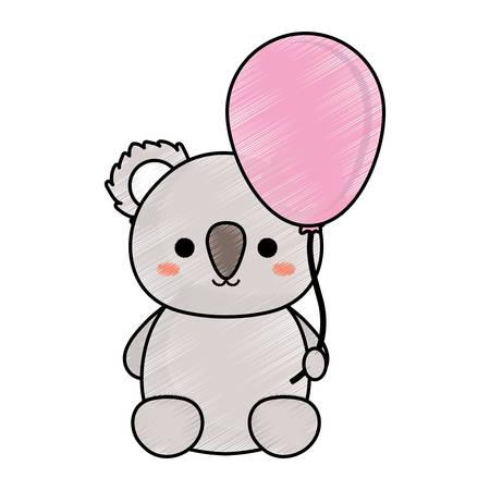 cute koala holding a balloon icon over white background colorful design vector illustration Illustration