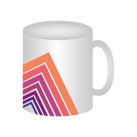 coffee mug with abstrac graphic design icon over white background colorful design vector illustration Illustration