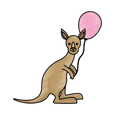 cute kangaroo holding a balloon icon over white background colorful design  vector illustration Illustration