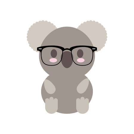 cartoon koala with glasses icon over white background colorful design vector illustration
