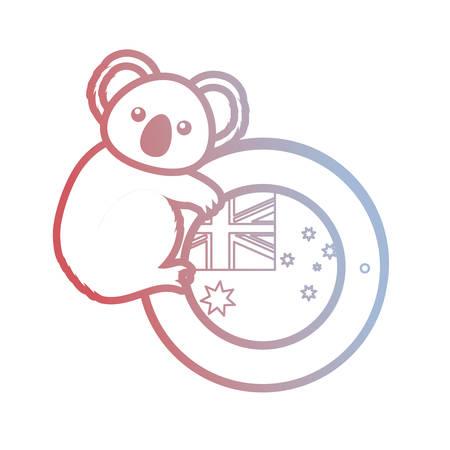 cute koala with button of australia flag icon over white background vector illustration Stock Illustratie