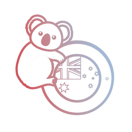 cute koala with button of australia flag icon over white background vector illustration Illustration
