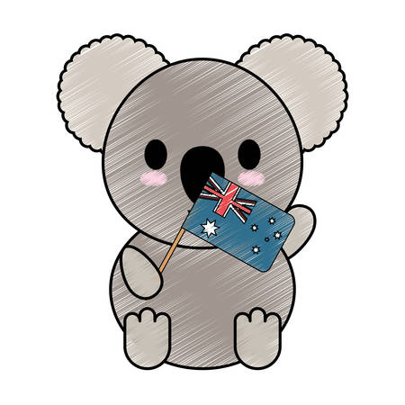 cute koala holding a little  australia flag icon over white background colorful design  vector illustration Illustration