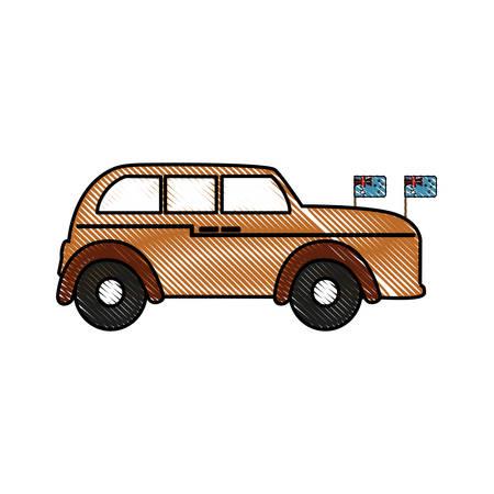 England Classic Car icon illustration plain background Illustration