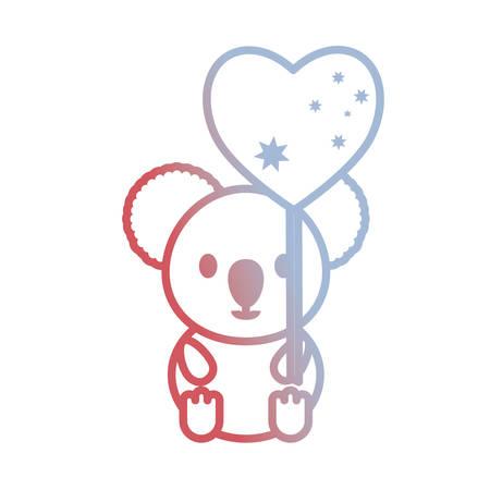 cute koala with australia flag in heart shape over white background vector illustration
