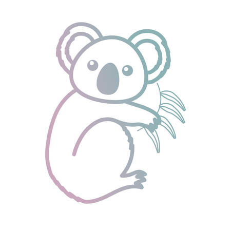 cute koala with bamboo leaves icon over white background vector illustration