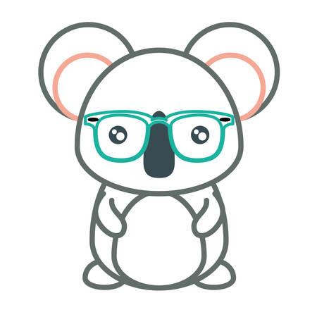 A cartoon koala with glasses