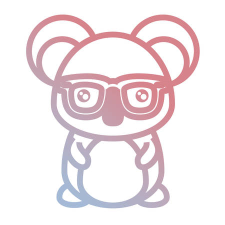cute koala with glasses icon over white background colorful design vector illustration