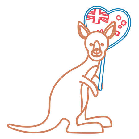 Cartoon kangaroo with australia flag in heart shape icon over white background vector illustration