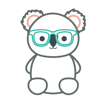 cute koala with green glasses icon over white background colorful design vector illustration
