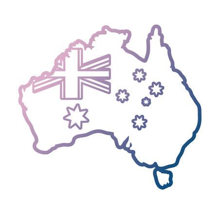 australia flag in country map shape  over white background colorful design vector illustration Ilustração