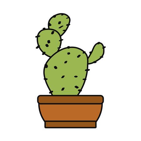 cartoon cactus in a pot Çizim