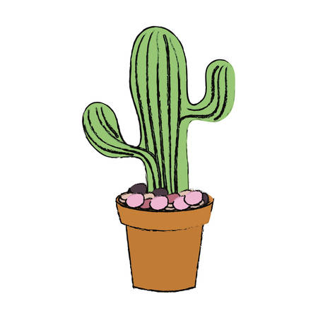 cartoon Saguaro Cactus in a pot icon over white background colorful design  vector illustration