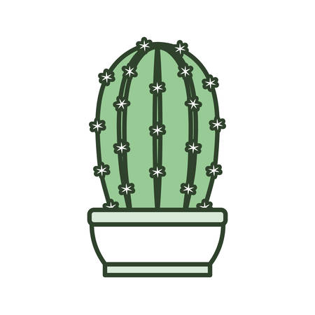 cartoon cactus plant in a pot icon over white background colorful design  vector illustration 向量圖像