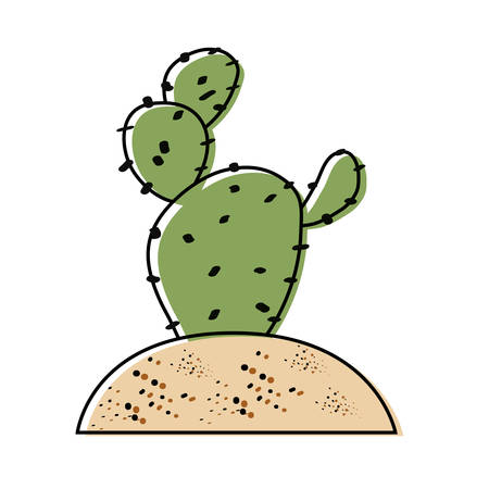 Paddle cactus planted in soil icon over white background colorful design vector illustration
