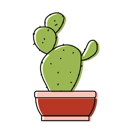Paddle cactus in a pot icon over white background