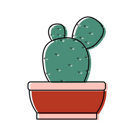 Paddle cactus in a pot icon over white background colorful design vector illustration 向量圖像