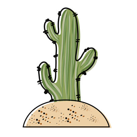 Saguaro Cactus planted in the soil over white background colorful design vector illustration