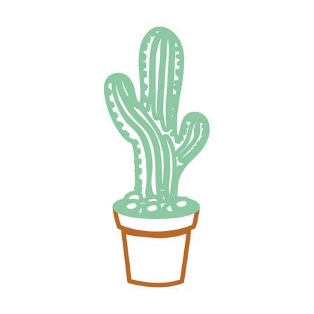 cartoon Saguaro Cactus in a pot icon over white background colorful design  vector illustration