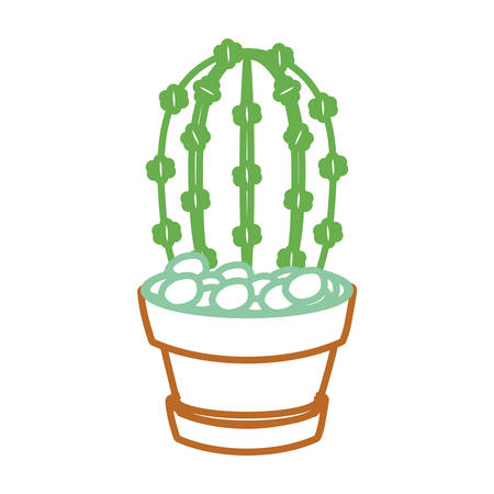 Cartoon cactus plant in a pot icon over white background colorful design vector illustration Illustration