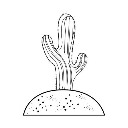 Saguaro Cactus planted in the soil over white background vector illustration