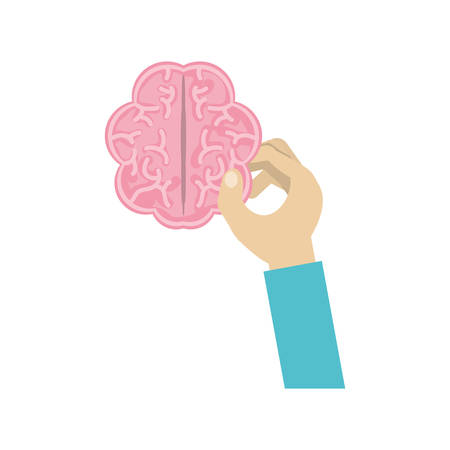 hand holding a human brain icon over white background colorful design vector illustration Illustration