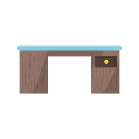 desk with a drawer icon over white background colorful design vector illustration