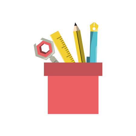 Writing and drawing tools in the cup over white background colorful design vector illustration