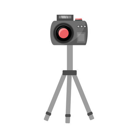 photographic camera on the tripod icon over white background colorful design vector illustration