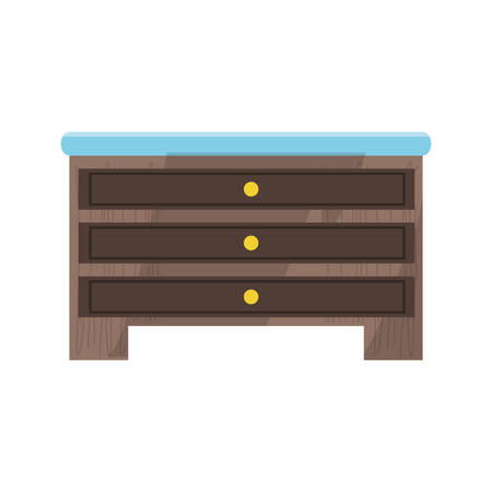 chest of drawers icon over white background colorful design vector illustration