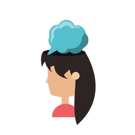 A thinking cloud on woman head icon over white background colorful design vector illustration