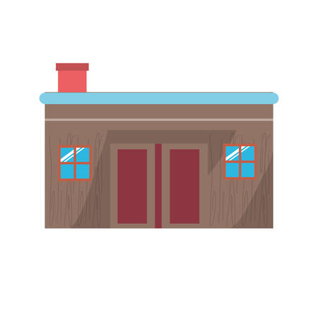 A house with two windows icon over white background colorful design vector illustration