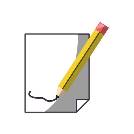 A line drawn with a pencil on a sheet icon over white background vector illustration