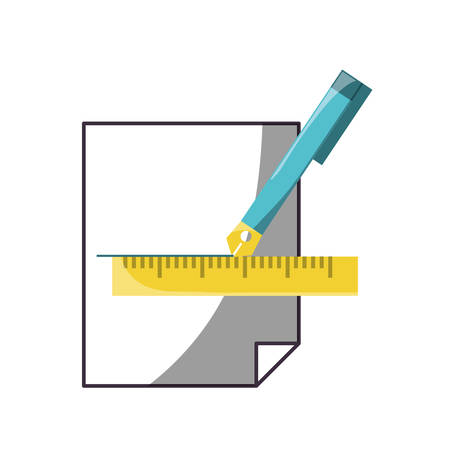 Fountain pen making a straight line in the paper with the aid of the ruler Ilustração