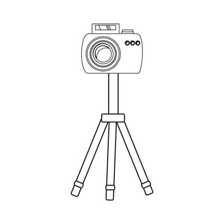 photographic camera on the tripod icon over white background vector illustration