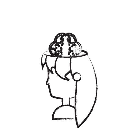 sketch of head of woman showing the brain over white background vector illustration