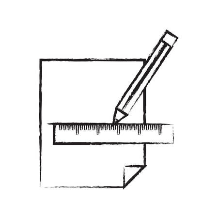 line drawn with a pencil and ruler on a sheet  icon over white background vector illustration