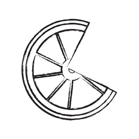 sketch of lemon slice icon over white background vector illustration Illustration