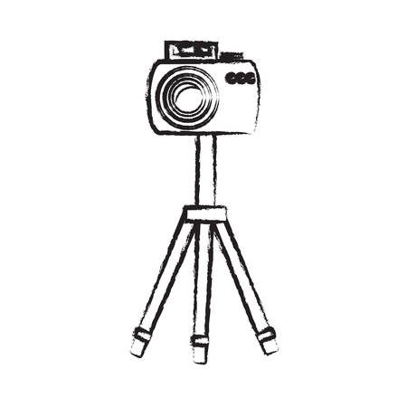 sketch of photographic camera on the tripod icon over white background vector illustration