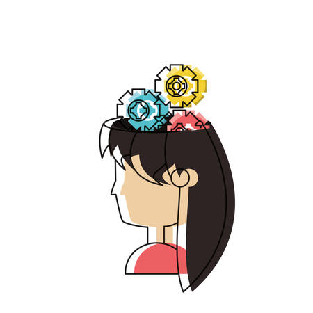 Woman with gear wheels Illustration