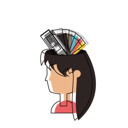 Cartoon woman with color palette guide picker over white background colorful design vector illustration
