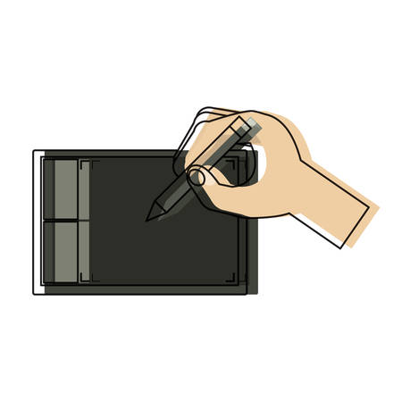 hand drawing on a graphic tablet over white background colorful design vector illustration