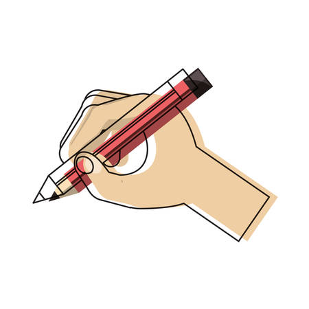 Hand holding a pencil icon