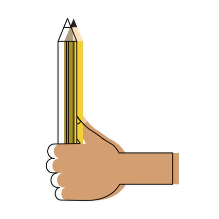 hand holding a pencil icon over white background colorful design vector illustration